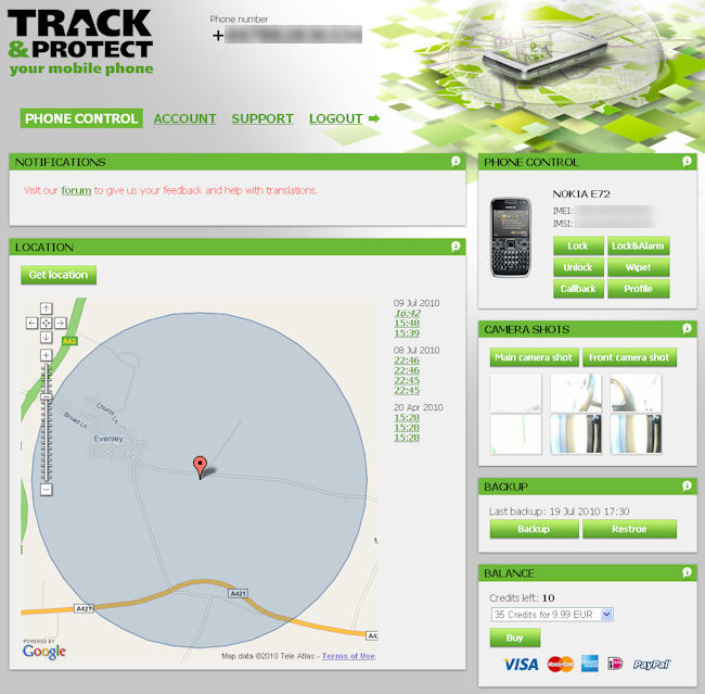 Track and Protect website