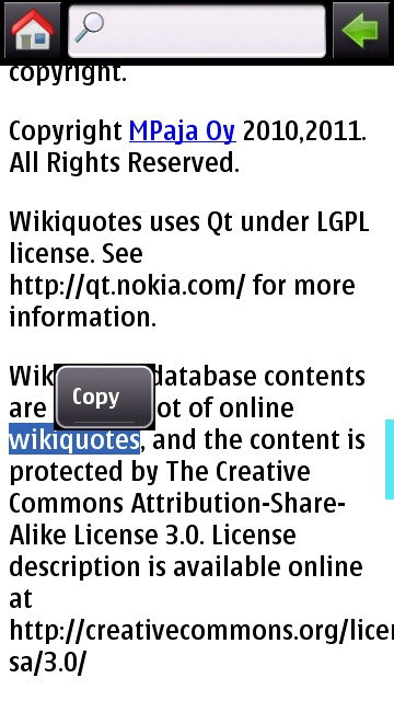 Text selection in Wikiquotes