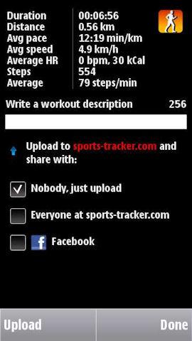 Sports Tracker upload