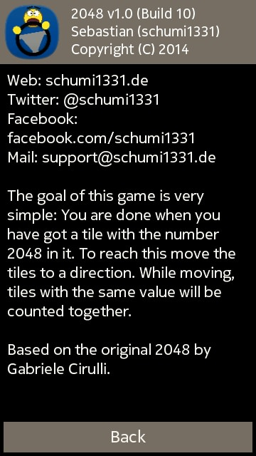 Screenshot, 2048 game for Symbian