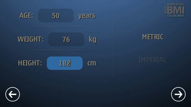 Screenshot, BMI Calculator: Ideal weight