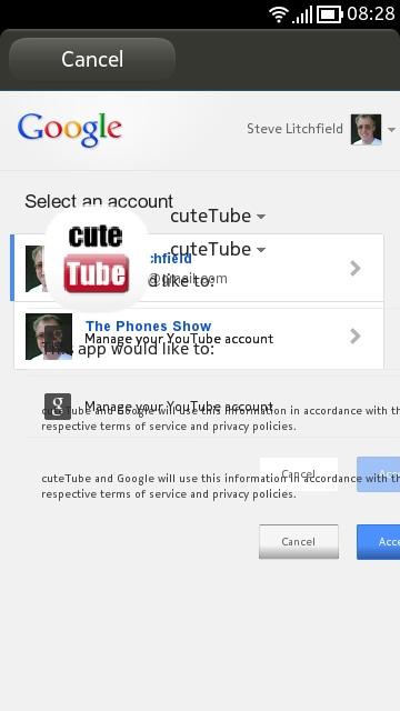 Screenshot, cuteTube update