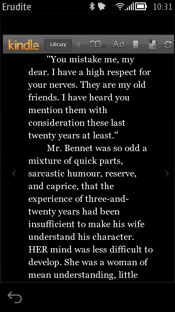 Screenshot, Erudite (Kindle for Symbian)