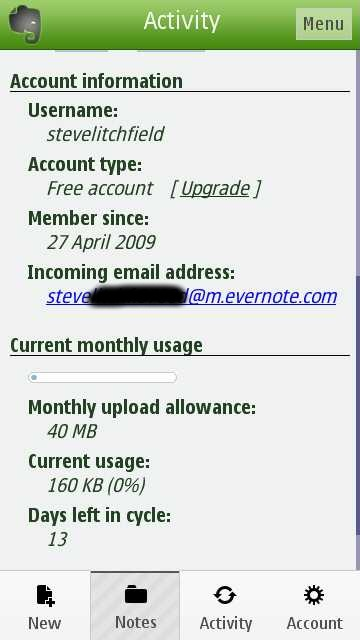 Screenshot, Evernote for Symbian