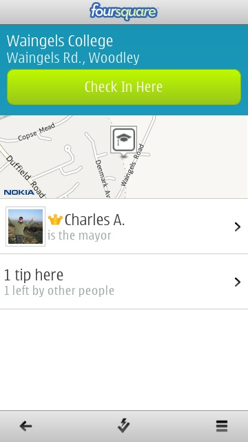 Screenshot, foursquare for Symbian