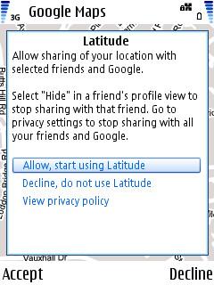 Screenshot from Google Latitude