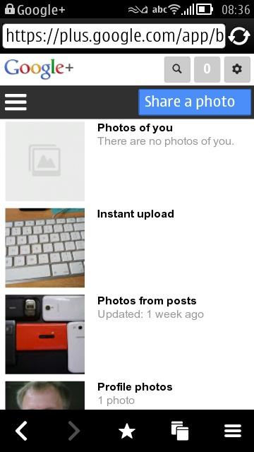 Google+ in mobile web