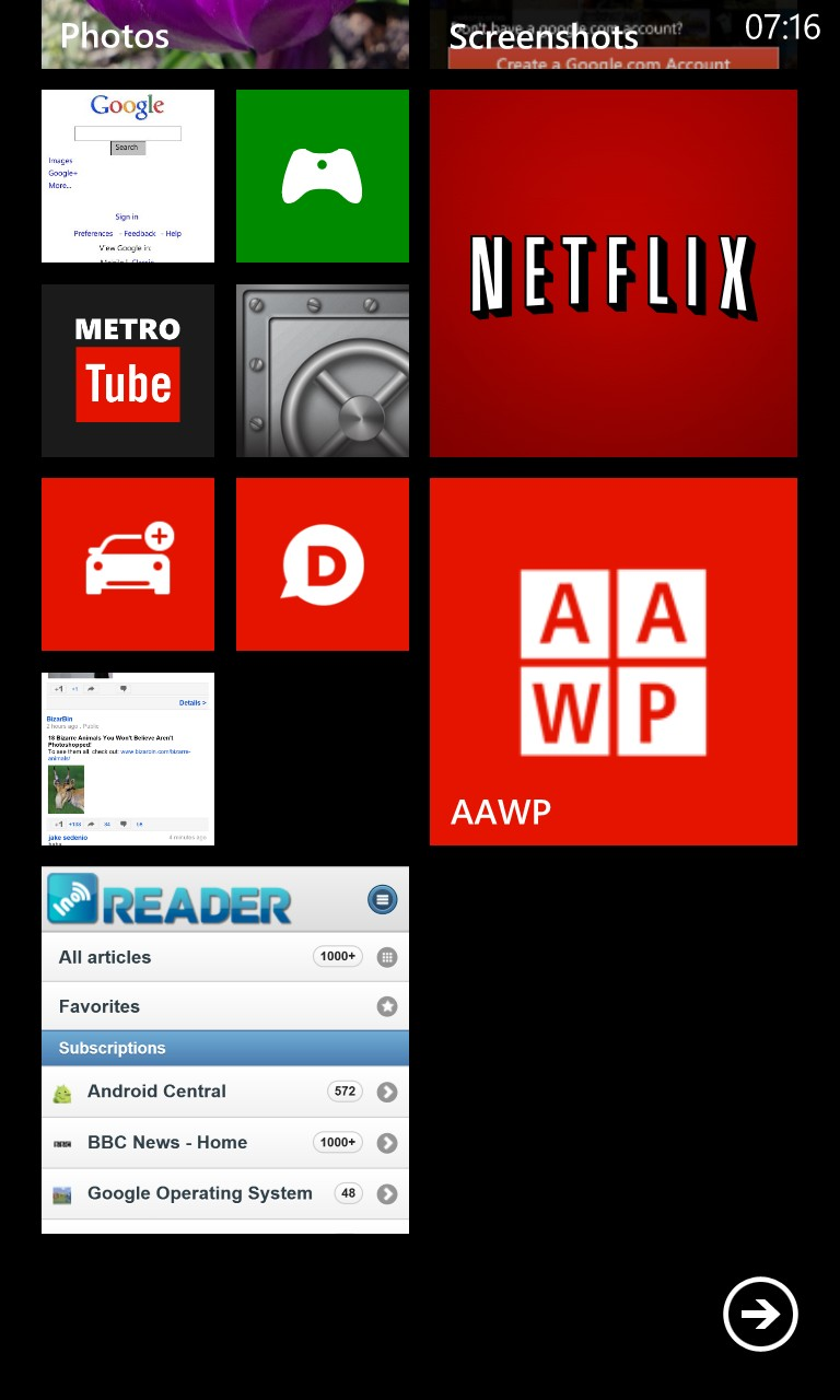 Screenshot, InoReader on Windows Phone