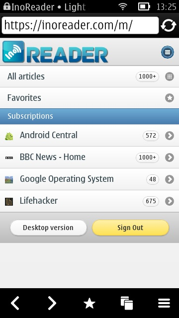 Screenshot, InoReader on Symbian