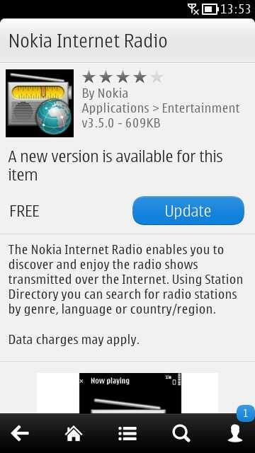 Nokia Internet Radio update