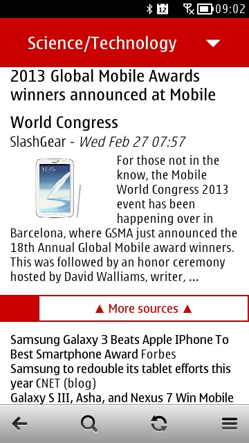 Screenshot, News for Symbian