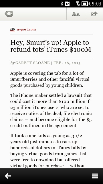 Screenshot, News for Symbian