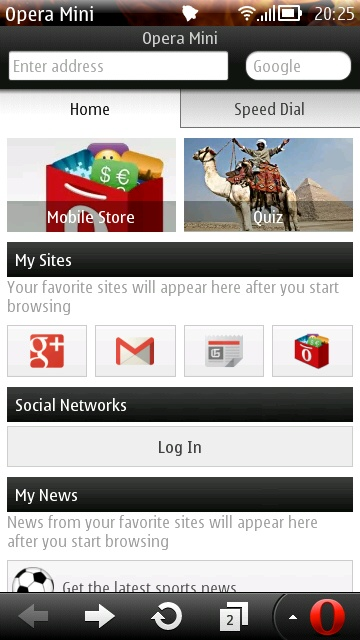 Screenshot, Opera Mini 7 Update 1