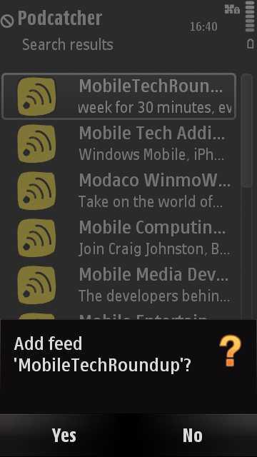 Screenshot, Podcatcher