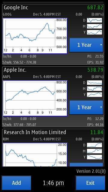 Screenshot, QuickStocks