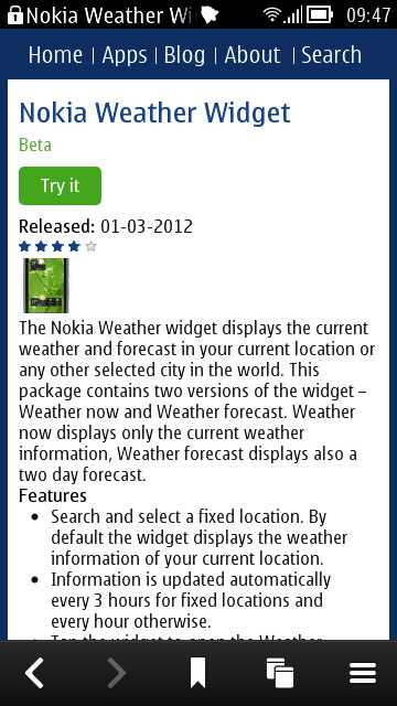 Screenshots, weather widgets and Maps Suite