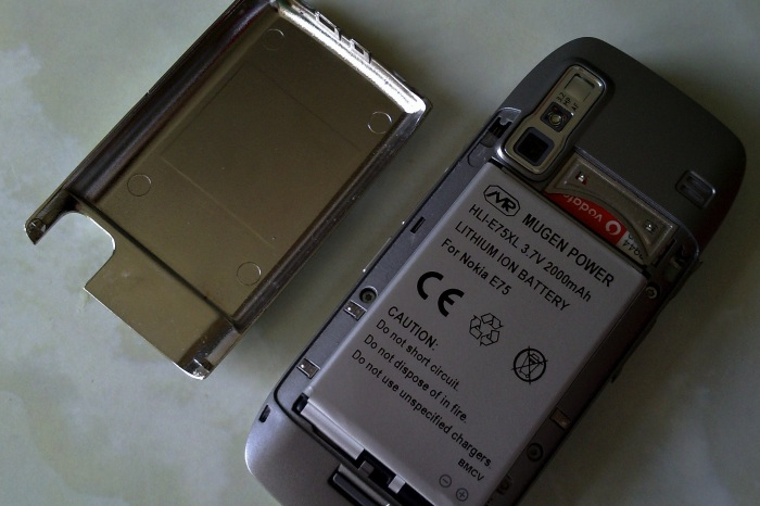 The Mugen 2000mAh battery on the E75