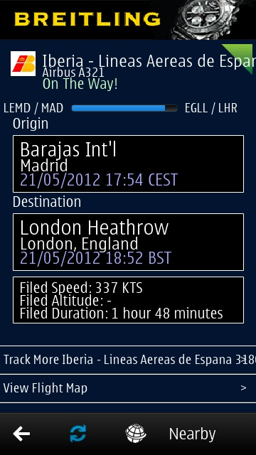 Screenshot, FlightAware