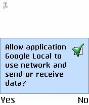 Screenshot, Google Local for Mobile