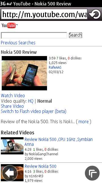 Nokia 500 screenshot