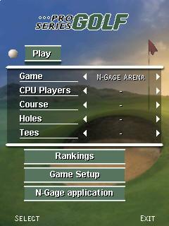 Pro Series Golf setup screen