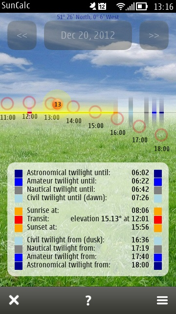 Screenshot, SunCalc